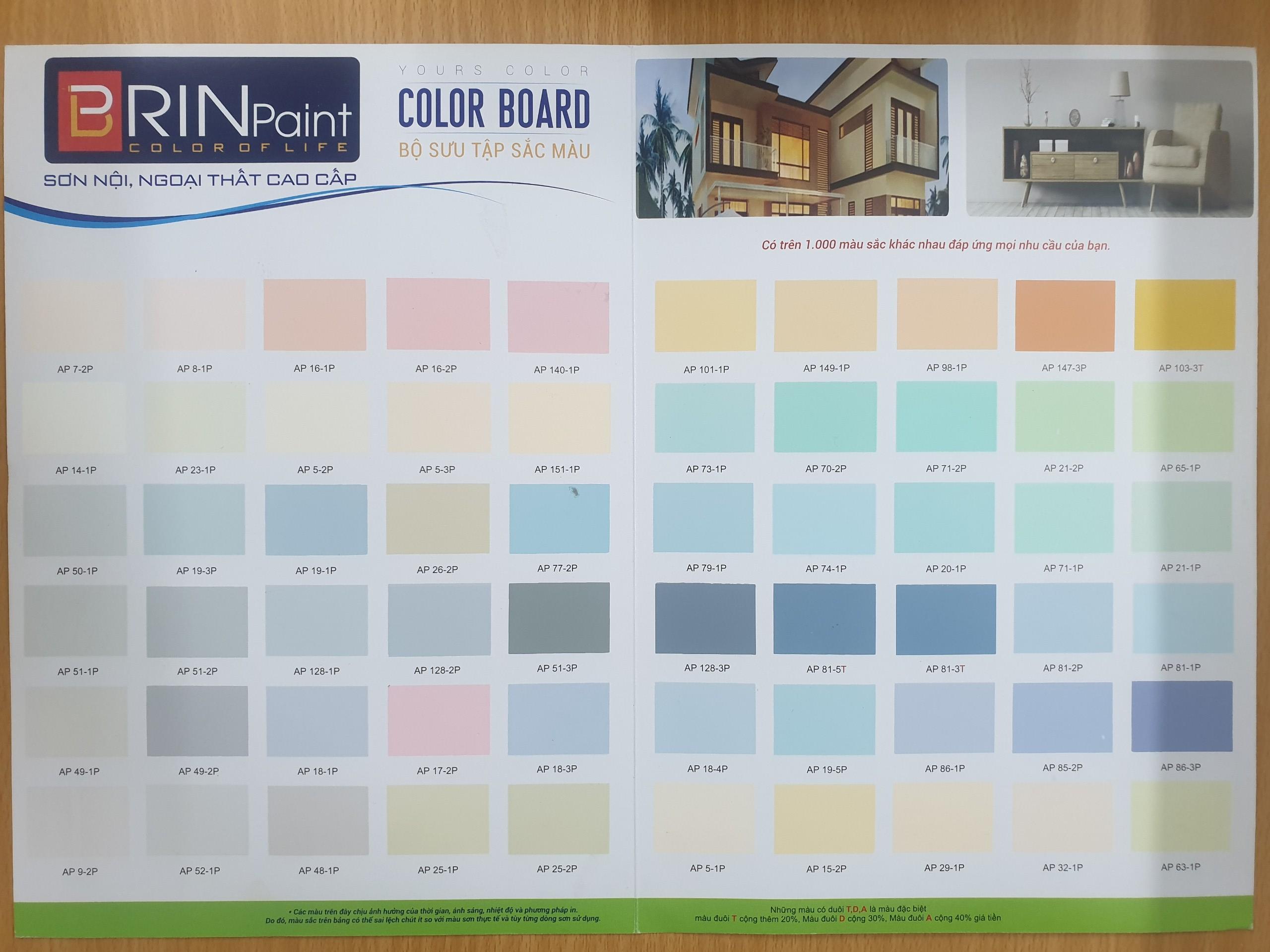 bảng màu mẫu sơn Brinpaint