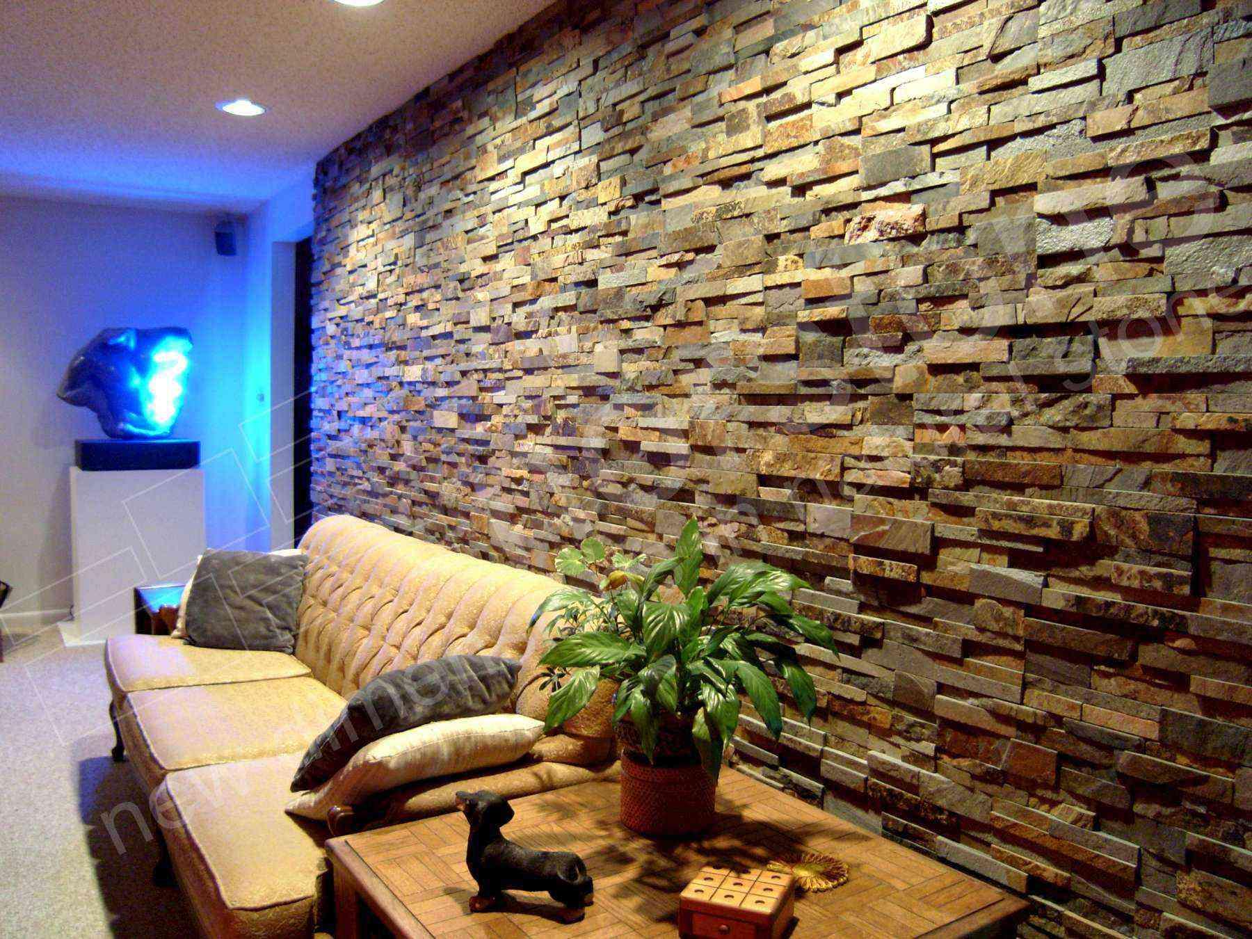 gạch giả đá ốp tường phòng khách