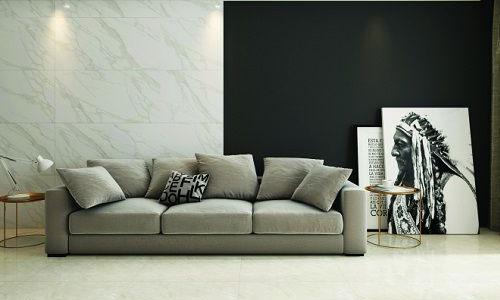 Nếu phòng khách của gia đình bạn được thiết kế theo phong cách tối giản thì không nên bỏ gạch nền đá hoa màu trắng ngà