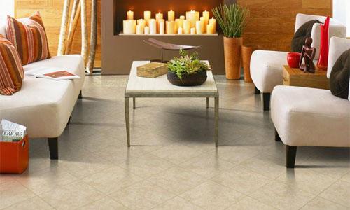 Mẫu gạch men bóng màu vân cát thích hợp cho những phòng khách thiết kế theo phong cách hiện đại, tối giản