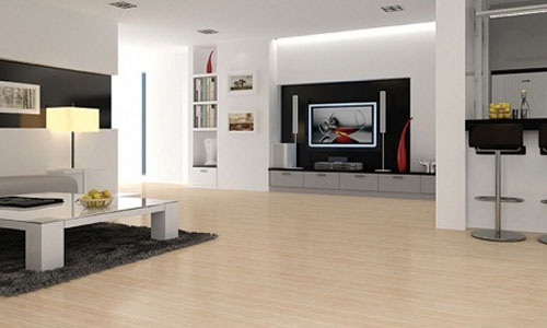 Mẫu gạch lát nền giả gỗ Prime 7813 tông màu nâu vàng nhạt, mang đến một không gian phòng khách hoàn toàn ấn tượng