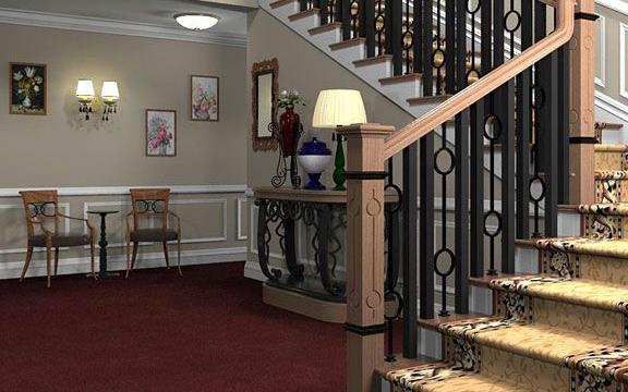 tay vin cau thang sat, Cầu thang sắt có tay vịn gỗ vuông