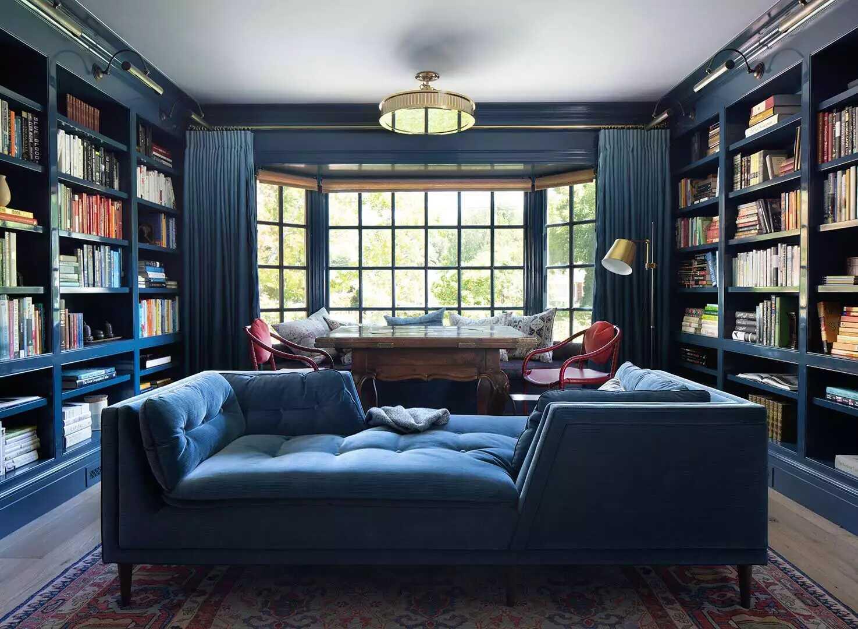 màu xanh lam bóng cho phòng khách