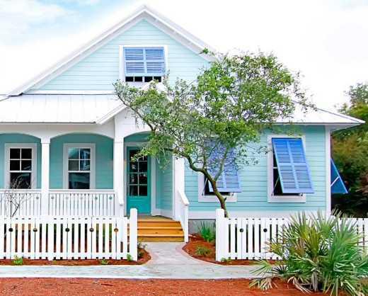 nhà màu xanh trendy