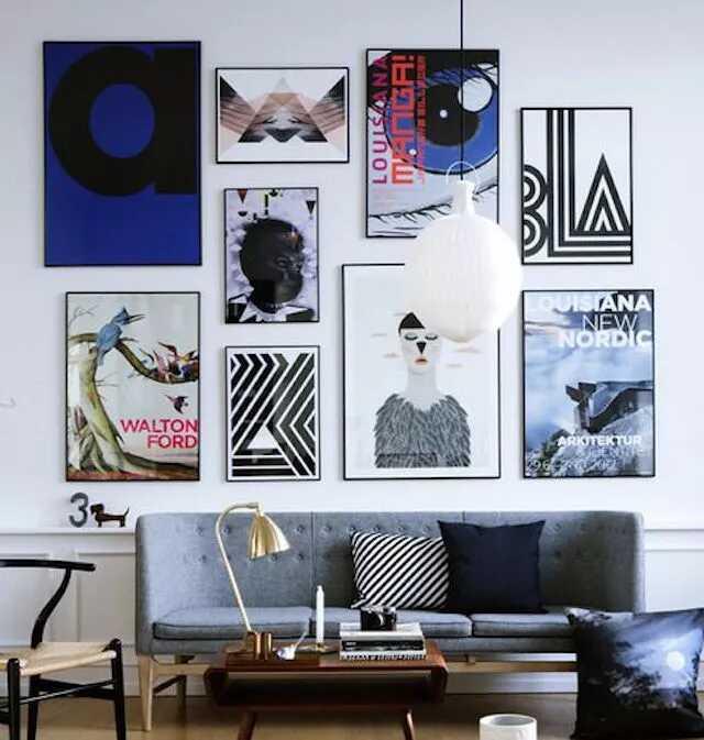 phòng khách hiện đại, đầy màu sắc