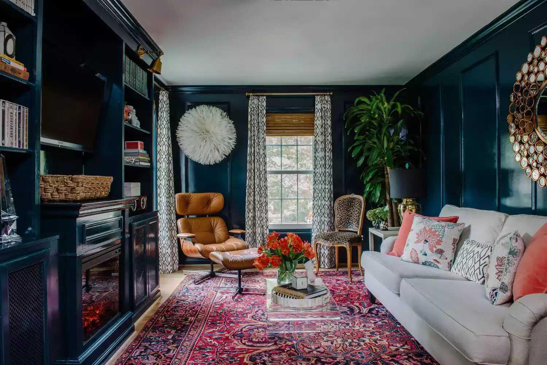 phòng khách màu xanh đậm