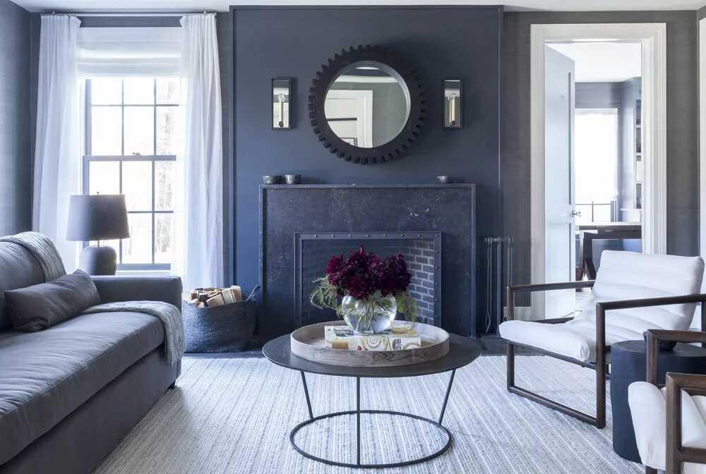 phòng khách màu xanh xám