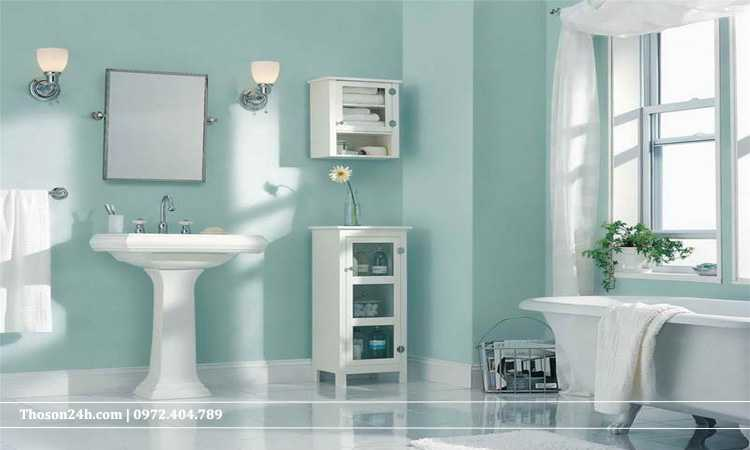 màu xanh toilet hiện đại