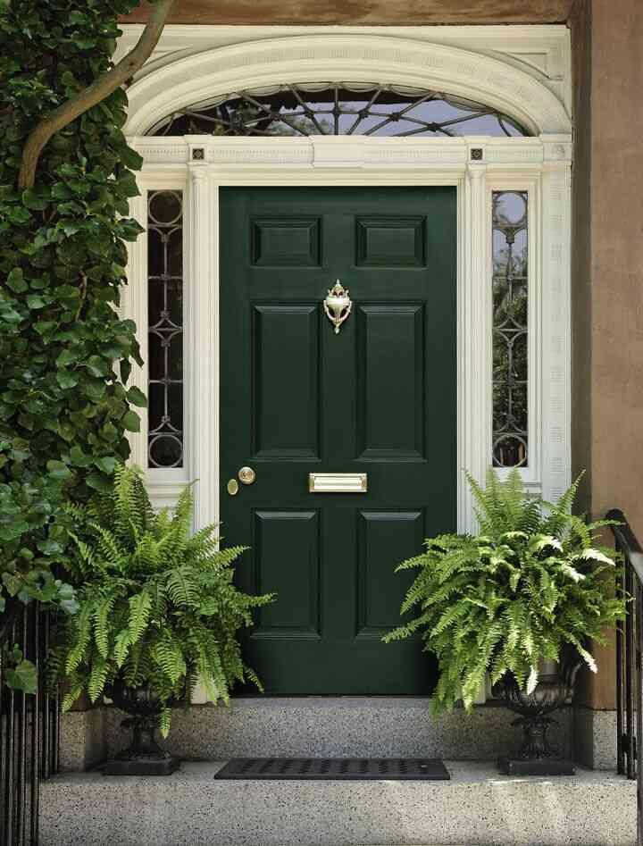 màu sơn cửa đẹp, cửa gỗ màu xanh lục