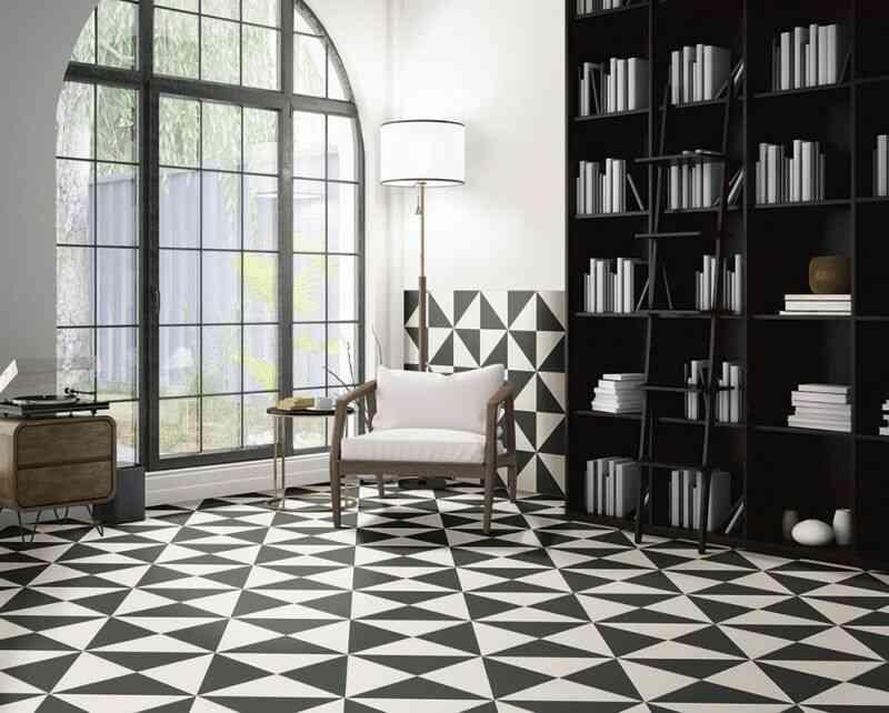 gạch đen trắng, phòng đọc sạch đen trắng đẹp
