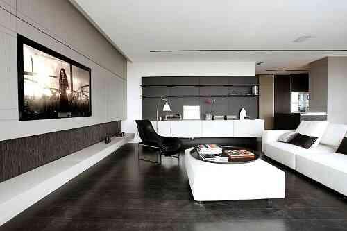 phòng khách màu đen, gạch giả đá hoa cương màu đen