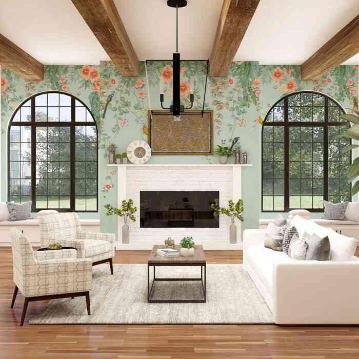 mẫu giấy dán tường đẹp hoa cỏ