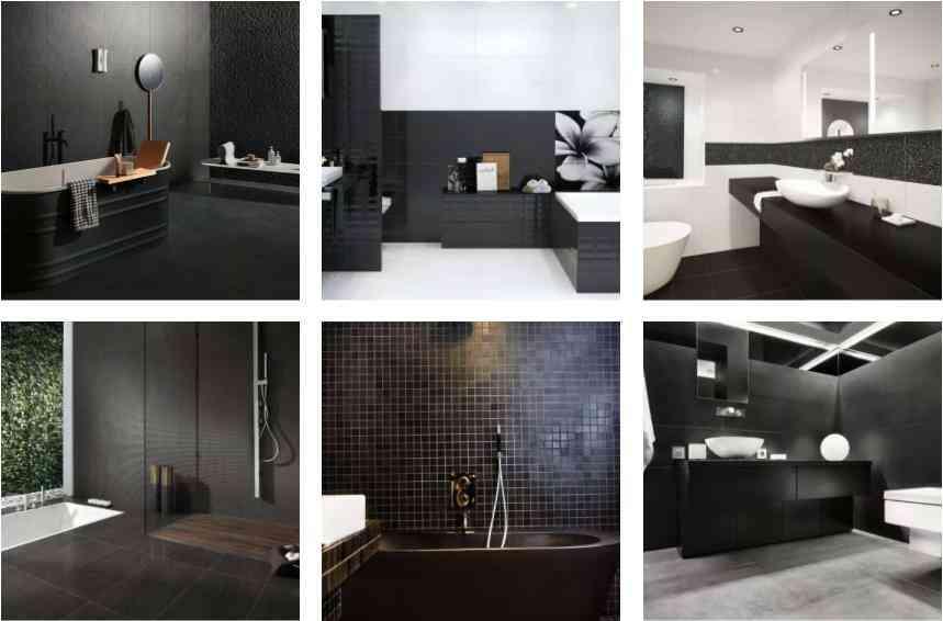 các mẫu lát gạch đen phòng tắm, phòng tắm màu đen