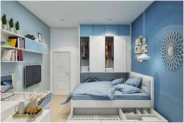 phòng ngủ màu xanh lam đẹ