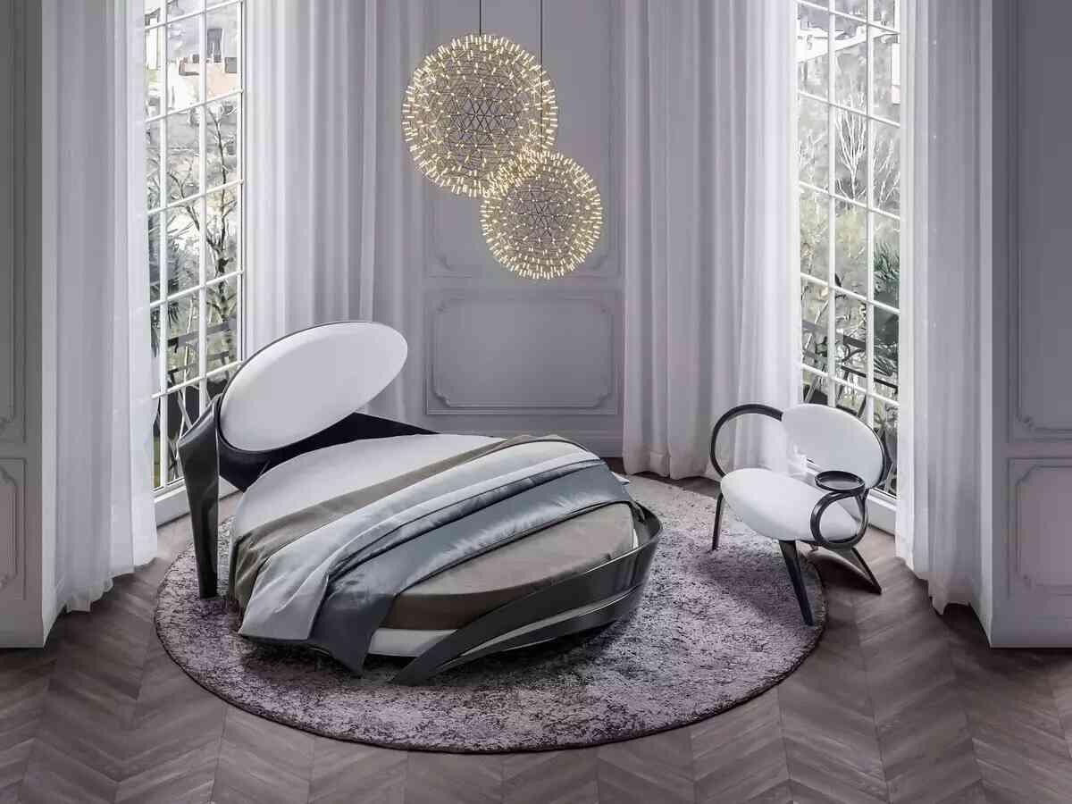 giường tròn đẹp màu xám