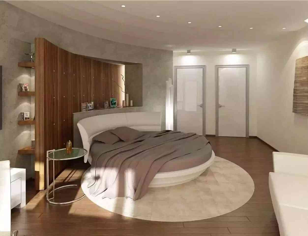 giường ngủ hình tròn màu be
