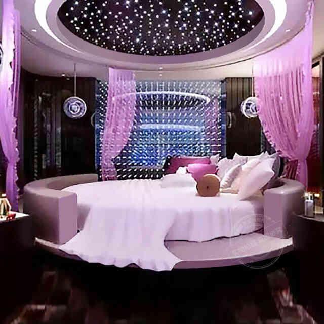 giường ngủ tròn màu tím