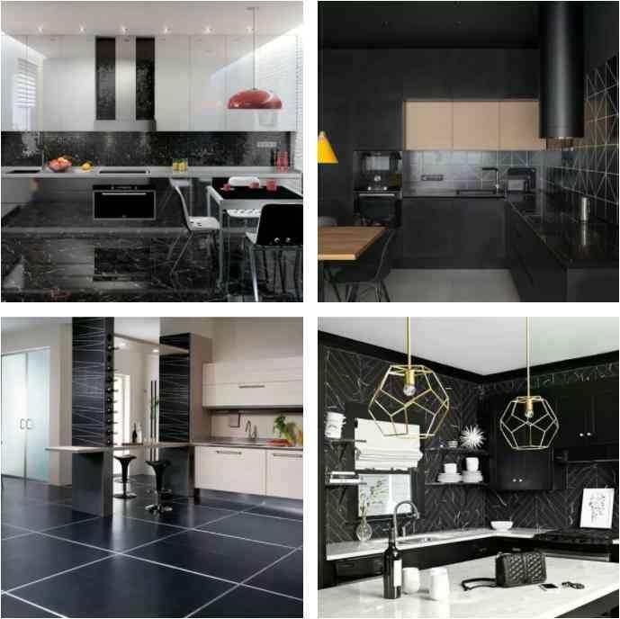 trang trí phòng bếp màu đen, gạch lát màu đen