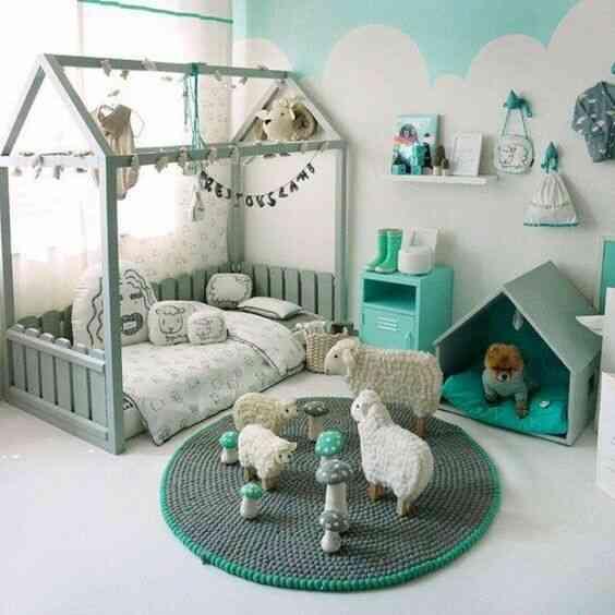 phòng em bé màu xanh đẹ