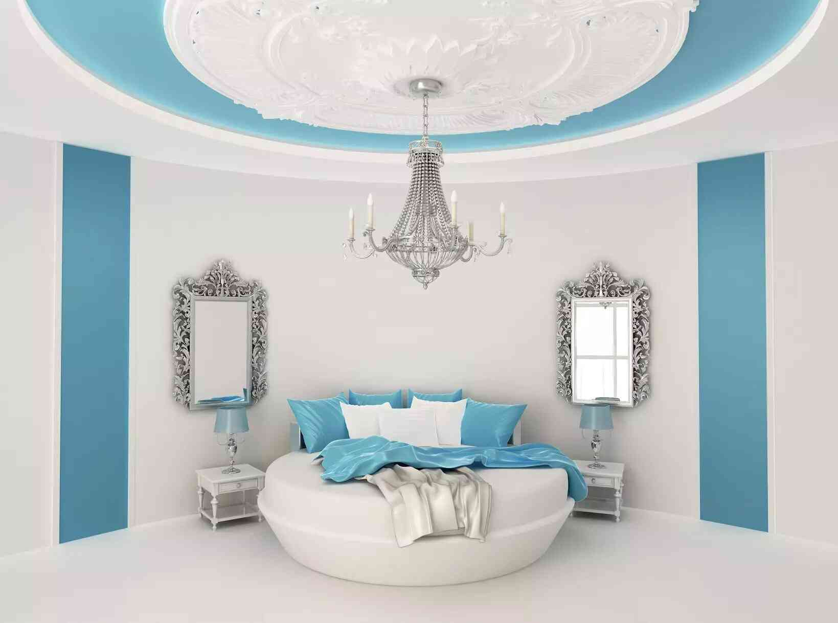 giường tròn đẹp màu xanh