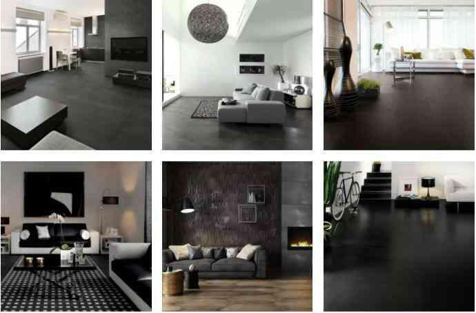 phòng khách màu đen, gạch đen đẹp cho phòng khách