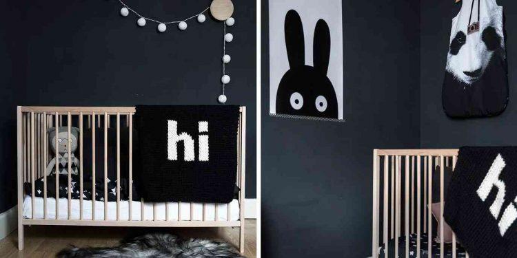phòng ngủ cho em bé màu đen