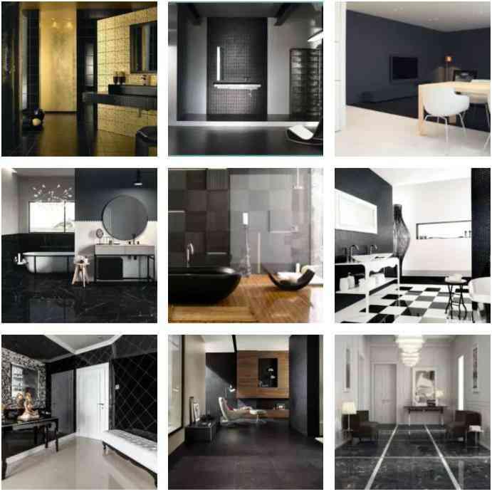 gạch giả đá màu đen, gạch lát nền màu đen, phòng màu đen