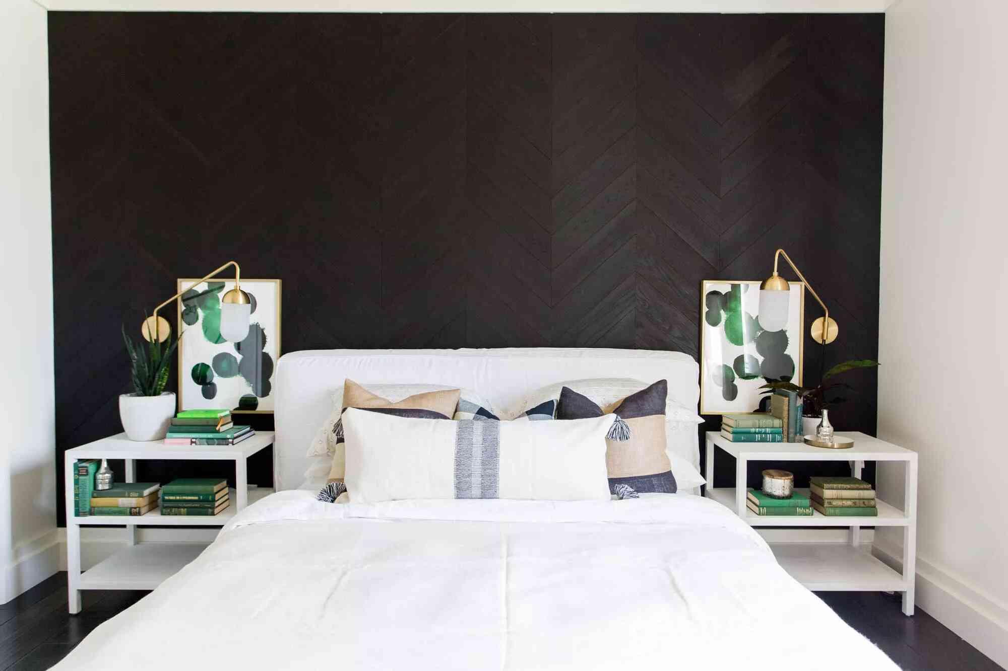 phòng ngủ trắng đen
