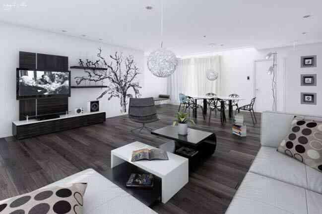 phòng khách màu đen-trắng, hiện đại