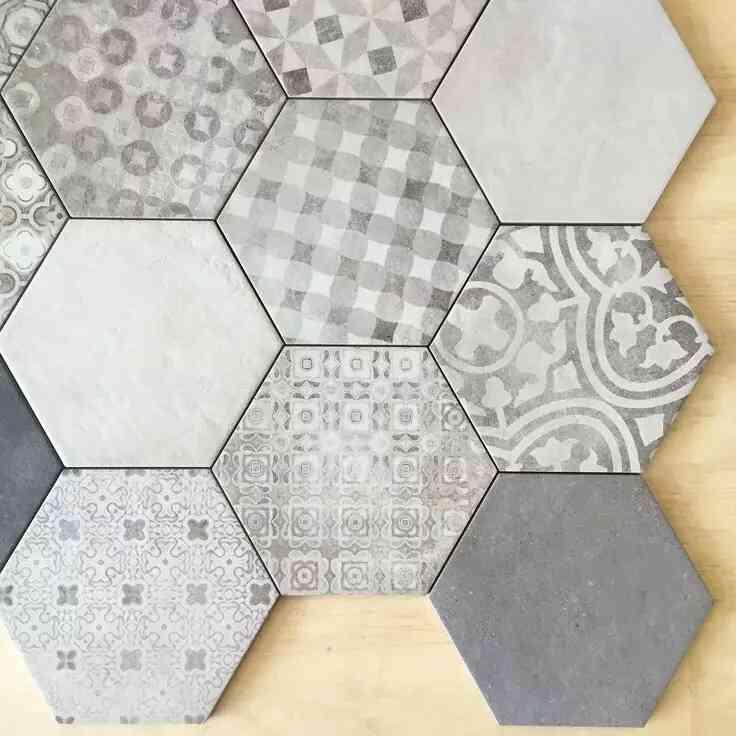 mẫu gạch lục giác đẹp màu xám