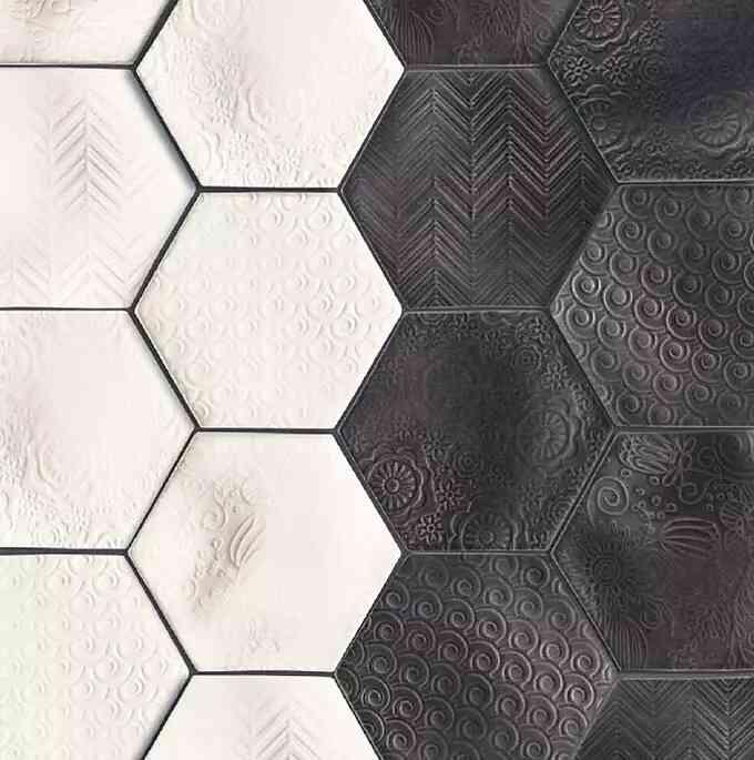 mẫu gạch lục giác dập nổi họa tiết đẹp màu xám