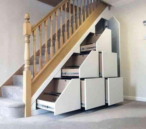 Ý tưởng tủ gỗ kéo gầm cầu thang đẹp