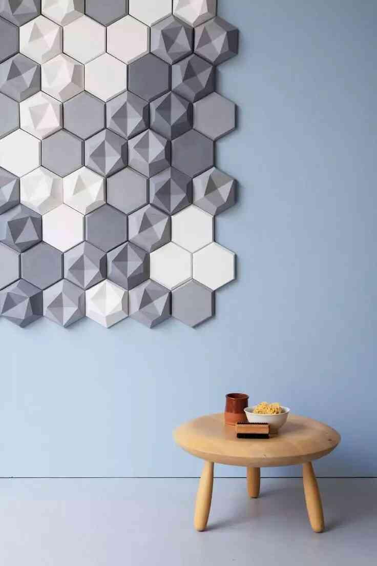 gạch lục giác ốp tường đơn giản, hiện đại