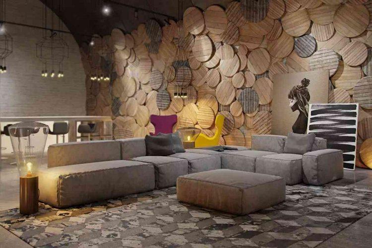 phòng ngủ tường gỗ