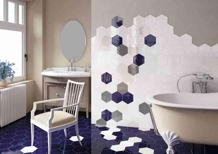 mẫu gạch lục giác đẹp lát nhà vệ sinh mùa xanh lam