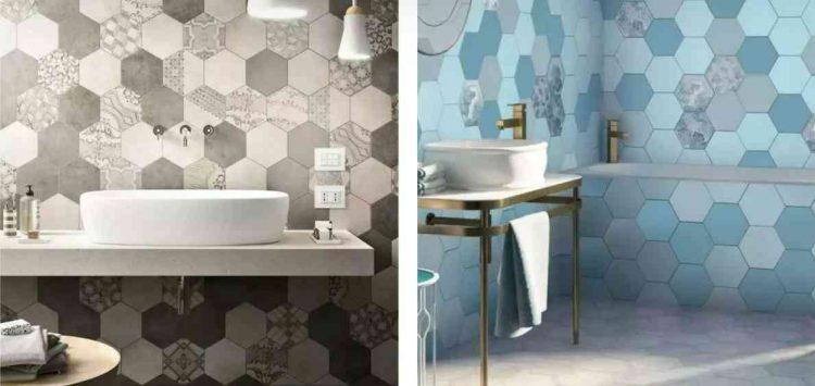 mẫu gạch lục giác đẹp lát nhà vệ sinh màu xanh, xám