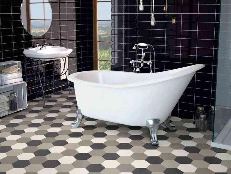 mẫu gạch lục giác đẹp lát nhà vệ sinh màu trắng, đen