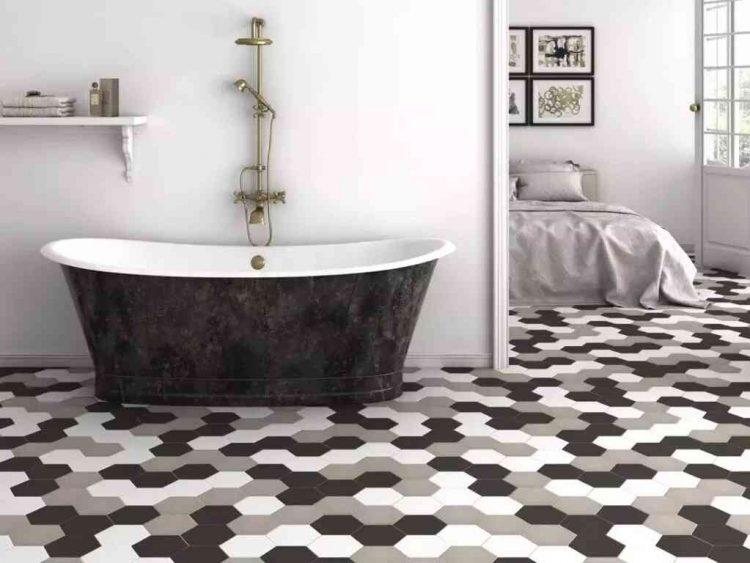 mẫu gạch lục giác đẹp lát nhà vệ sinh màu đen trắng hiện đại