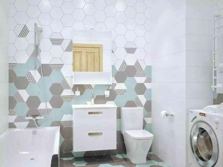 mẫu gạch lục giác đẹp lát nhà vệ sinh màu xanh xám nhạt
