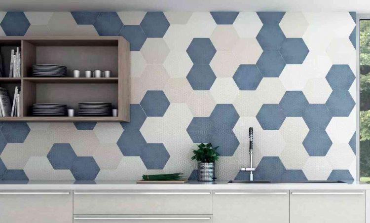 gạch lục giác ốp tường nhà bếp đơn giản, hiện đại
