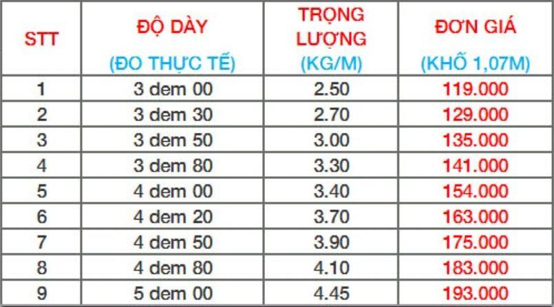 Giá tôn xốp Việt Nhật