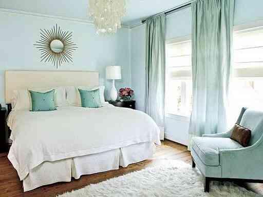 phòng ngủ màu xanh ngọc