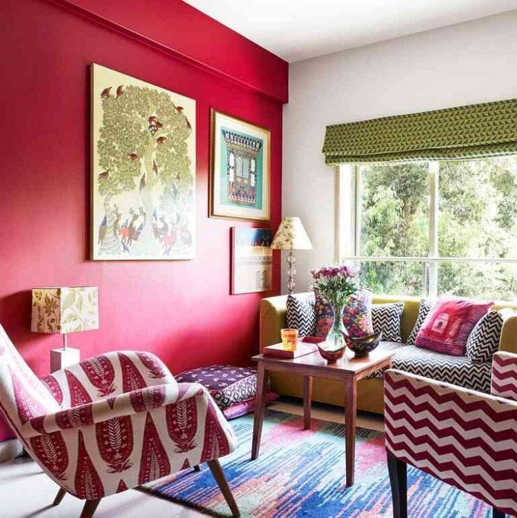 phòng khách màu đỏ, phòng khách màu nóng