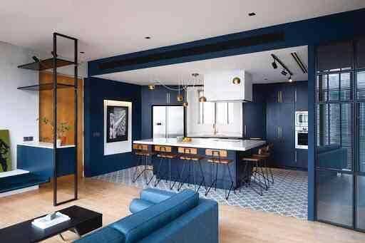 phòng bếp màu xanh lam