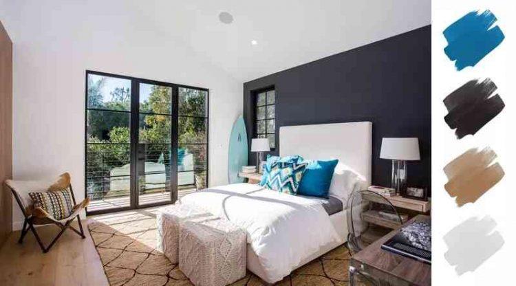 Phối màu sơn phòng ngủ đẹp với xanh da trời và xám