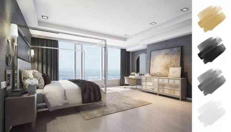 Phòng ngủ tinh tế với màu sơn xám than và vàng kim loại