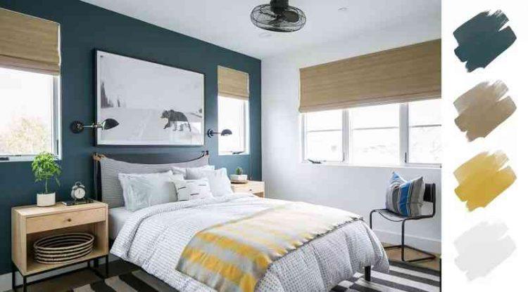 Chọn màu sơn cho phòng ngủ: Xanh navy, trắng và vàng