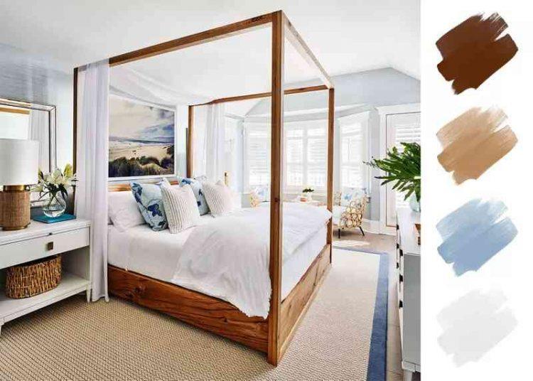 Phối màu sơn phòng ngủ với màu nâu và trắng