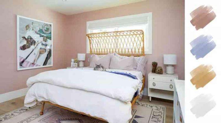 Sơn phòng ngủ màu hồng, trắng