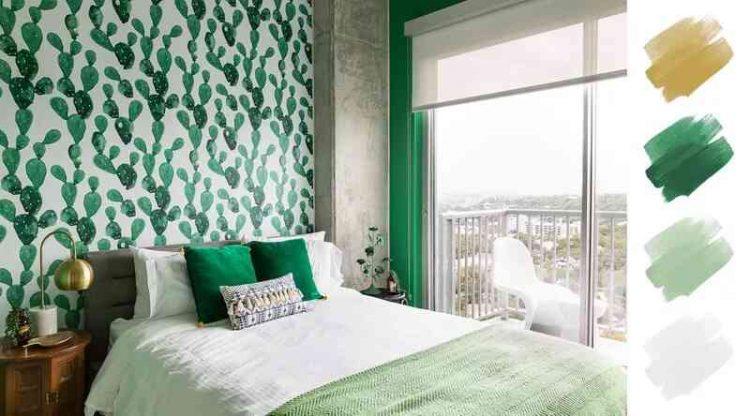 Sơn phòng ngủ tông màu xanh ngọc lục bảo